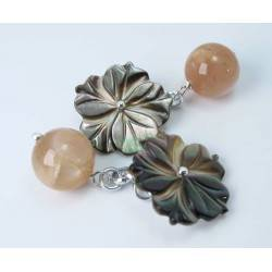 Cufflinks with pink moonstone and carved Tahiti mother of pearl