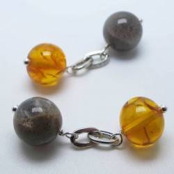 Cufflinks with grey moonstone and amber