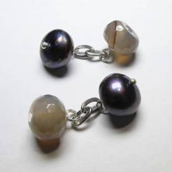 Cufflinks with grey freshwater pearls and grey agate