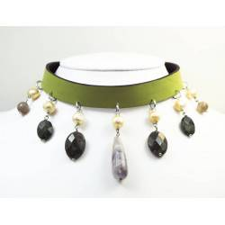 Leather choker and bracelet with pearls, amethyst, labradorite, agate and serpentine
