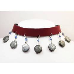 Leather choker and bracelet with falcon eye and kyanite