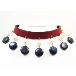 Leather choker and bracelet with lapis lazuli and pearls