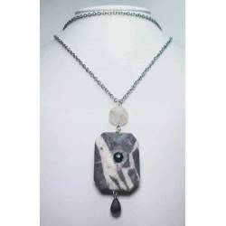 Long necklace with grey jasper, pink and grey quartz and Swarovski crystal