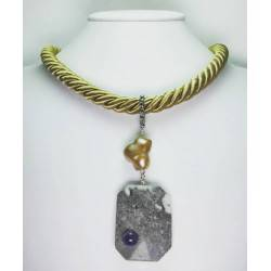 Golden silk necklace with grey jasper, baroque pearl and amethyst