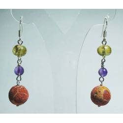 Silver earrings with madrepora, amethyst and citrine quartz