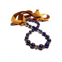 Necklace with lapis lazuli, tiger eye with wooden rings closure and ribbon