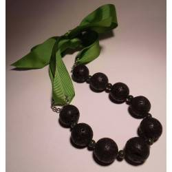 Lava stone necklace with African jade with green gros-grain ribbon