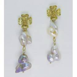 Golden flower earrings with baroque pearls