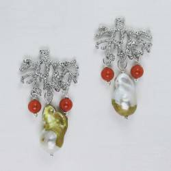 Coral branch earrings with red coral and baroque pearls