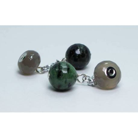 Cufflinks with rubyzoisite and grey agate