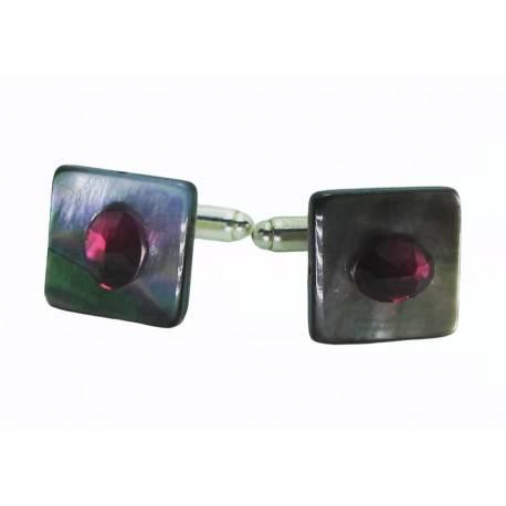 Cufflinks with Tahiti mother of pearl and purple red Swarovski crystal