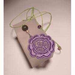Pendant with LineaErre lilac lace, pearl, labradorite and fluorite