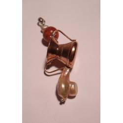 Pendant with copper basin, freshwater pearl and red coral