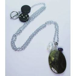 Long necklace with peridot, keshi pearl and amethyst